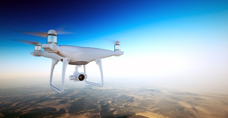 Photo White Matte Generic Design Air Drone with action camera Flying Sky under Earth Surface.Uninhabited Desert Mountains Sunset Background.Horizontal,front side angle view.Film Effect.3D rendering.