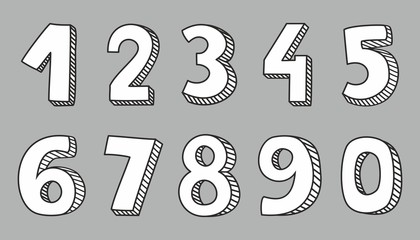 Hand drawn white vector numbers isolated on grey background