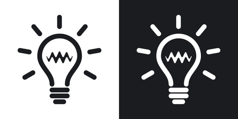 Light bulb icon, vector. Two-tone version on black and white bac