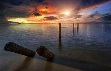 Beach sunset, Beautiful natural summer seascape.