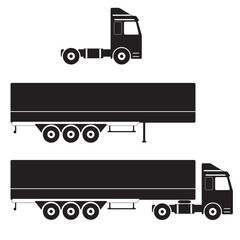 Truck with cargo container. Trailer icon. Vector Illustration.