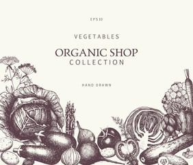 Healthy Food background. Vector vegetables illustration. Sketched menu design. Eco food template with hand drawn vegetables sketch. Vintage style.