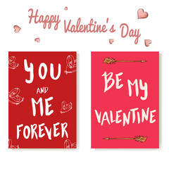 Vector romantic lettering. Set of love cards with quote for love. Be my Valentine.