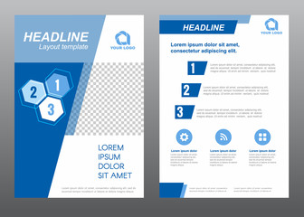 Layout flyer template size A4 cover page slant blue tone Vector design