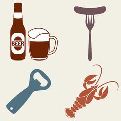 Beer icons set. Beer bottle, mug, opener, crawfish. Vector symbols and design elements for restaurant, pub or cafe.