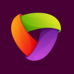 Triangle logo. Triple infinite loop icon.