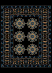 Luxury carpet in blue shades with ethnic ornament on the border and the middle