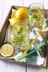 Cool refreshing drink: water, lemon and mint