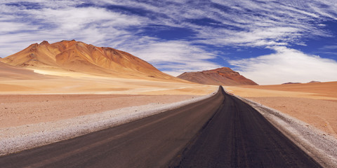 Desert road through the Altiplano, Chile, altitude 4700m