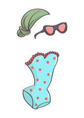 Cute summer accessories collection with one piece swimsuit, head scarf and sunglasses. Cute beach fashion.