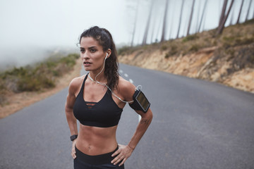 Fitness woman during outdoor training session