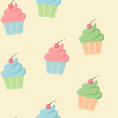 Seamless pattern with colored cupcake with cherry on yellow background in flat style