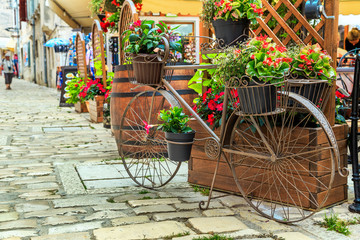 Medieval street cafe bar in Rovinj city center,Croatia,Europe