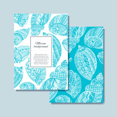 Hand drawn sea shells design for postcard, banner, card. Vector background with sea shell doodle elements. Sketch illustration