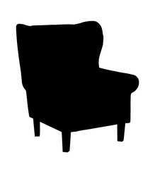 Silhouette of classic carved chair