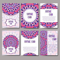 Invitation card with mandala. Decorative ornament for card design. Vintage mandala element.