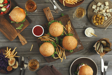 Burgers with different food