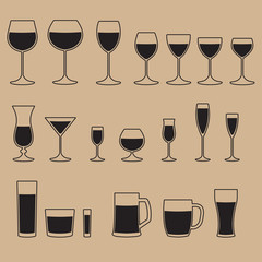 Glass icon set. Glassware for a different drinks. Beer glass, Wine glass and Cups isolated icons collection. Vector illustration.