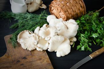 mushrooms black wooden table wicker