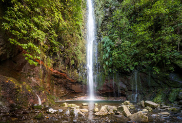 Waterfal at levada walk 25 fountains, Madeira island