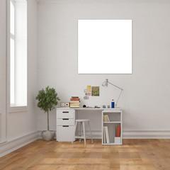 Poster an Wand über Schreibtisch