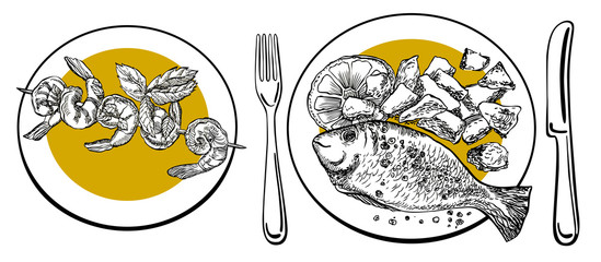 Set of sea bream fish with potato and shrimp barbecue. Hand drawn vector illustration. Seafood plates.