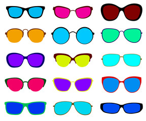 Set of sunglasses. Flat design