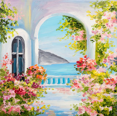 Foto auf Leinwand Rosa hell oil painting on canvas - house near the sea, summer, canvas, greek