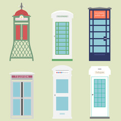Telephone boxes from the whole world / different versions of Public call boxes