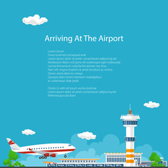 Arrivals at Airport Background , Control Tower and Airplane , Travel and Tourism Concept , Air Travel and Transportation , Vector Illustration