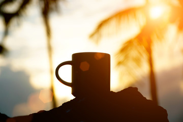 Coffee silhouettes on sunset.