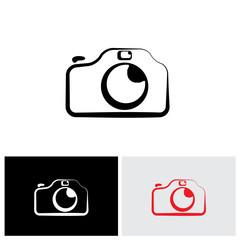 vector logo icon of digital modern camera with flash icon symbol