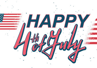 Happy 4 of July lettering text