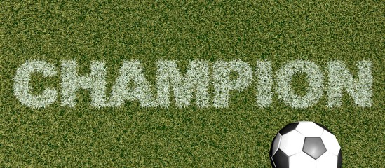 Champion - grass letters on football field