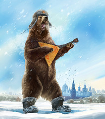 Grotesque (caricature) character. Drunk and furious bear with a balalaika is wearing a soldier cap. Comic image of Russia and the USSR. Propaganda cliche.