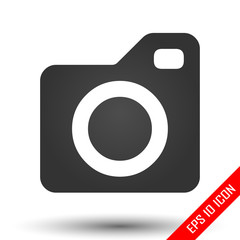 Camera icon. Camera picture. Flat icon of camera