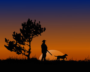 silhouette of a hunter.