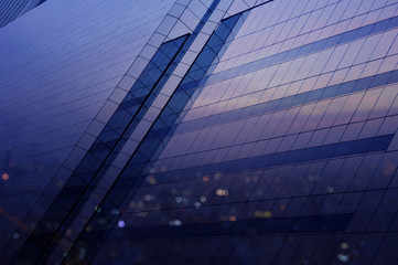 Fototapete - Aerial view of city tower reflection in window glass, Bangkok Th