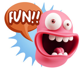 3d Illustration Laughing Character Emoji Expression saying Fun w