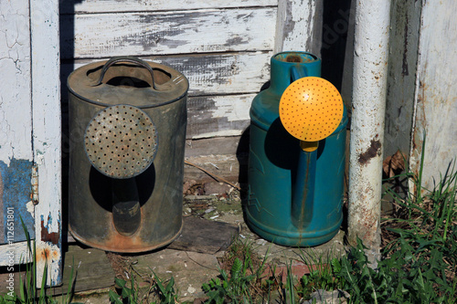 Two Old Watering Cans Metal Steel Grey Can And Plasti