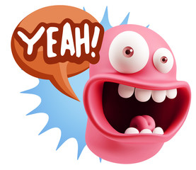 3d Illustration Laughing Character Emoji Expression saying Yeah