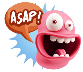 3d Illustration Laughing Character Emoji Expression saying Asap