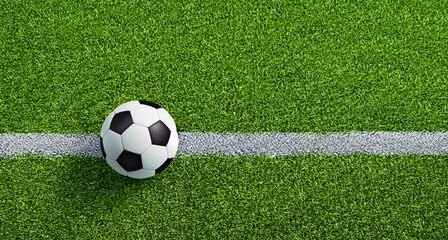 Schwarzweißer Fußball auf Rasen - Anstoss 2