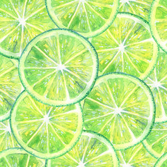Seamless pattern with lemon lime and leaves.Fruit picture.Watercolor hand drawn illustration.