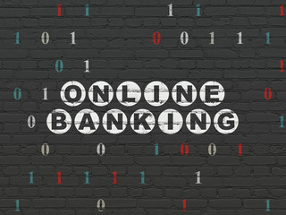 Business concept: Online Banking on wall background