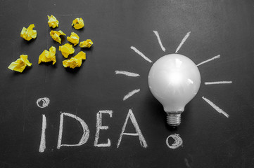 Light bulb with rays on the black chalkboard with title idea! written by white  chalk and crumpled yellow papers, light bulb idea , business idea , business concept ,Innovation concept
