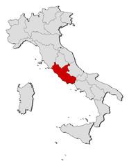 Map - Italy, Lazio