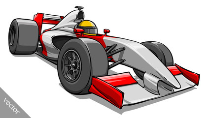 child's funny cartoon formula race car vector illustration art