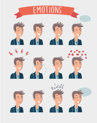 Men emotions faces vector characters