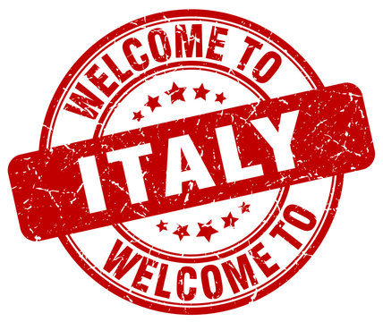 welcome to Italy red round vintage stamp